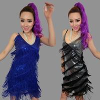 Tassel paillette costumes performance wear costume evening dress one shoulder dress one-piece dress