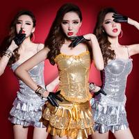 Fashion female singer ds costume costumes paillette small paillette vest short skirt
