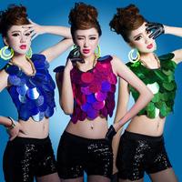 Modern dance costume ds female singer female costumes fish laser paillette bare midriff top