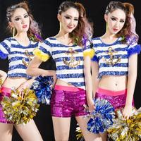 Girls GENERATION costume paillette top twirled clothing gym suit callisthenics clothes navy