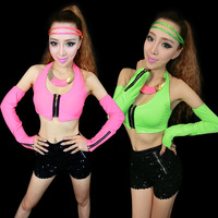 Ds costume dance jazz clothes twirled clothing costumes neon hiphop top t