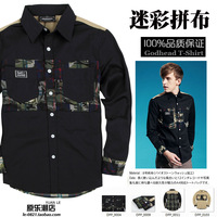 2014 underneinghbor un patchwork Camouflage pocket tooling american style long-sleeve shirt