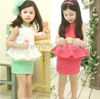 New cotton British Lunfan skirt Suits vest set baby girls sets clothes 2 pcs suits t shirt Princess skirt children clothing set
