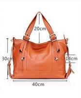 2014 new  women's fashion handbag genuine leather cowhide handbag shoulder handbags messenger bag leather bag free shipping p50