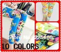 10 Colors Baby Kids Children's Floral Printing Leggings Girl's legging 90-130cm Height Pencil Pant Trousers,Baby girl leggings