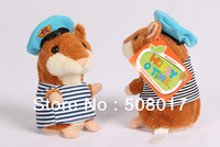 2014 Latest Hight Quality Russian Speaking Hamster ,Talking Navy Hamster,Repeat Words and Dancing,Plush Speaking Toy