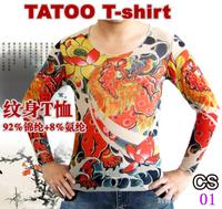Punk Nylon Stretchy Temporary Punk Fake Tattoo T-shirt Free Shipping Retail 1 pair/lot
