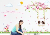 sakura,lawn,swing,girl and boy,romance wall decal,pink flower,50*70CM*2pieces,big size