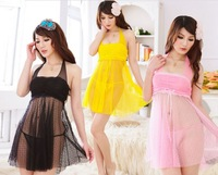Wholesale women transparent white gauze Sexy lingerie three color nightgown Contain the thongs