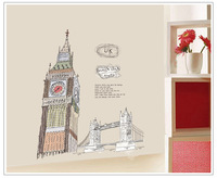The clock tower of London,60*90CM,big size wall sticker,line drawing