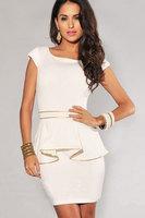 2014 New Arrival Girl's Fashion Skinny Ruffles Sexy Dress, Club wear Dress, Business Dress with Gold Line N120