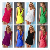2014 NEW Ladies' Sexy  Korean Womens Fashion  Sleeveless  Dress , beachwear swimwear cover up style  Free Shipping