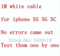 500pcs/Lot  1m 3FT  white 8 pin Data Sync Adapter Charger USB cable for iPhone 5 5s 5c iPod Touch support IOS7.0.5 by Fedex