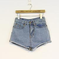 2014 winny autumn and winter vintage high waist denim shorts female roll-up hem loose shorts