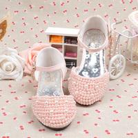 children shoes girls Child female high-heeled shoes pearl shining child high-heeled sandals 2013 female princess single shoes
