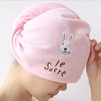 Home cartoon rabbit super absorbent dry hair hat magic dry hair towel