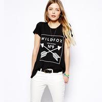 2014 No.9 arrow black women's short sleeve t-shirt fashion tops
