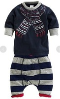 2014 spring&autumn unisex brand kids baby boy&girl set clothing fashion printed T-shirt +knitted pants 2 pcs Children's clothes