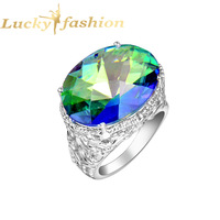 Free shipping - Fashion Silver Natural Blue mystic topaz silver rings 925 stamp jewelry R0069
