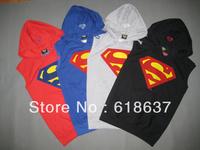 Men Fashion Superman Hip Hop Waistcoats With A Hood Sleeveless Gilets Hoodies Male Cotton Vest S-2XL Free Shipping