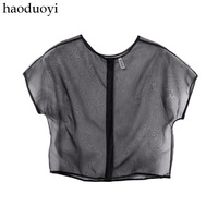 2014 new fashion chiffon black mesh sexy short sleeve solid crop top t-shirts for women