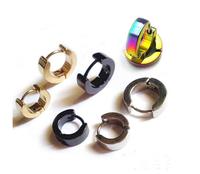 1 Pair Men Popular Punk Style Earring Stainless Steel Stud Earrings Golden Black Blue Silver Multicolor 5 Colors Free Ship!
