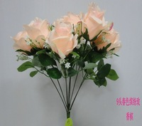 High quality artificial silk flower,wedding Christmas decorations, 9 flower rose flower bouquets with baby breath,free shipping
