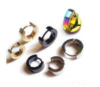 1 Pair Fashion Men Punk Style Stainless Steel Hoop Stud Earrings  Black Blue Golden Silver Multicolor