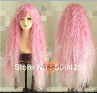 Free Shipping>>>Hot Fashio Harajuku fake lolita Pink Long Spiral curls cosplay wigs