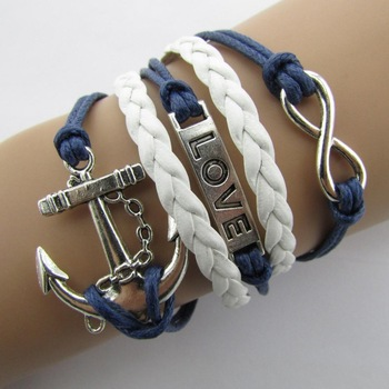 B104 anchor cross word LOVE 8 strands hand-Тканный bracelets Модный bright B5