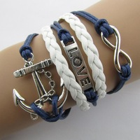 B104  anchor cross word LOVE 8 strands hand-woven bracelets fashion bright  B5