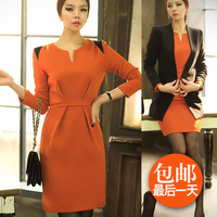 2013 fashion elegant ol ladies slim patchwork long-sleeve V-neck one-piece dress