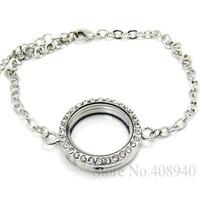 5PCS !! 30mm Silver Round magnetic glass floating locket bracelet Wholesale Fashion Bracelets & Bangles