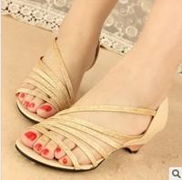 Free shipping Fashion rhinestone 2014 l women's flat open toe sandals Female summer wedges shoes