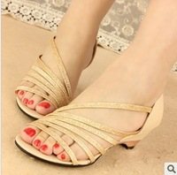 Free shipping Fashion rhinestone 2014 l women's flat open toe sandals Female summer wedges shoes