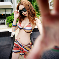 Fashion sexy swimwear hot springs small steel push up bikini split skirt three piece set swimwear female