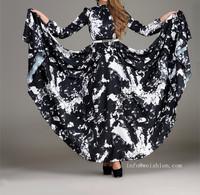 STOCK  Super LARGE BASE skirts  Princess cut long sleeve maxi muslim evening dress ,islamic abaya,muslim caftan for women