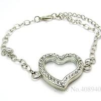 5PCS !! 30mm Silver Heart magnetic glass floating locket bracelet Zinc Alloy+Rhinestone Accessory Free shipping FL0070