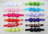 Free Shipping 12pcs Rose Flower Kids Baby Girl Headband Hairband Flower Clip Hairwear Fashion Wedding Design Outdoors Hot Sell