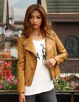 Autumn new women pu leather women short  Slim ladies leather motorcycle jacket Free Shipping