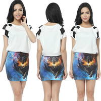 Fashion Pencil Galaxy Wolf Printed Skirt for Women Maxi Spandex Free Shipping 2061405