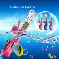 Waterproof  Turning Bead/Ball Dildo Massager with Multi-Speed Clitoral Vibrator, Female Masturbating Swing Penis Glans with Bump