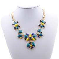 New Fashion Brand New Multicolor Rhinestone crystal insects Flower Statement Necklace & Pendants Womens Bib Collar Choker animal