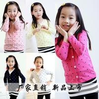 2014 New Arrival Spring Kid/Children/Kids/Boys/Girls Cotton Blend Polka Dot Cardigan Jacket Coat 1605,1 lot=5 Sizes each color