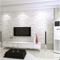 New Wallpaper Modern PVC 3D Silver Wall Paper Roll For Wall TV Sofa Background Living room Bedroom  R79