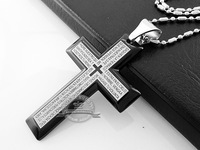 Classic Mens Stainless Steel Bible Cross Pendant Necklace With Free Chain 5 Colors to Choose