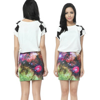 Sexy Galaxy Harajuku Printed Tulle Skirts Skirt  for Women Flexible Maxi Polyester Spandex Free Shipping 2061403