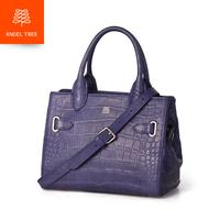 2014 crocodile pattern water cowhide handbag purple genuine leather one shoulder women's handbag asprey small