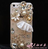 Wholesale Dance Girl For Apple iPhone 4 4s 5 Cellphone  Mobile Phone Case Shell Diamond Ballet Flower