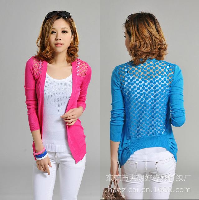 # 2013 fashion Free shopping ON SALE !Women Lace Sweet Candy Color Crochet Knit Blouse Sweater Cardigan B16 NZ001(China (Mainland))